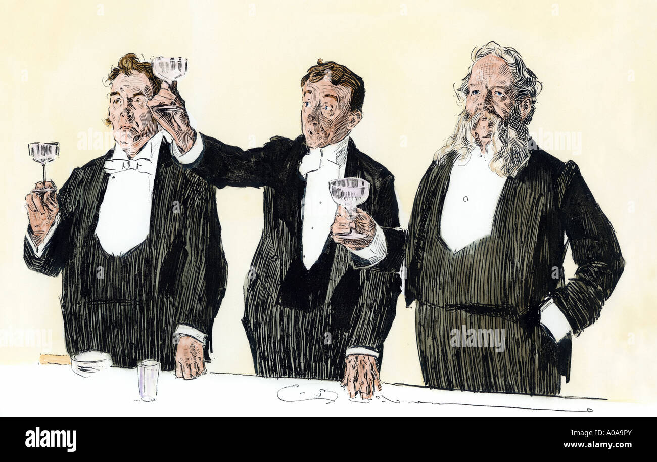 Gentlemen toasting Queen Victoria in England 1890s. Hand-colored woodcut of a Charles Dana Gibson illustration - Stock Image