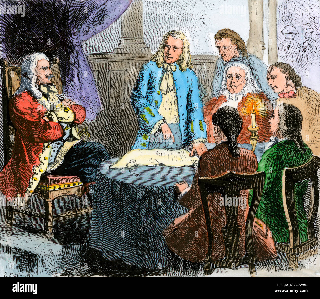 Colonists discussing the Connecticut Colony charter with English King Charles II. Hand-colored woodcut - Stock Image