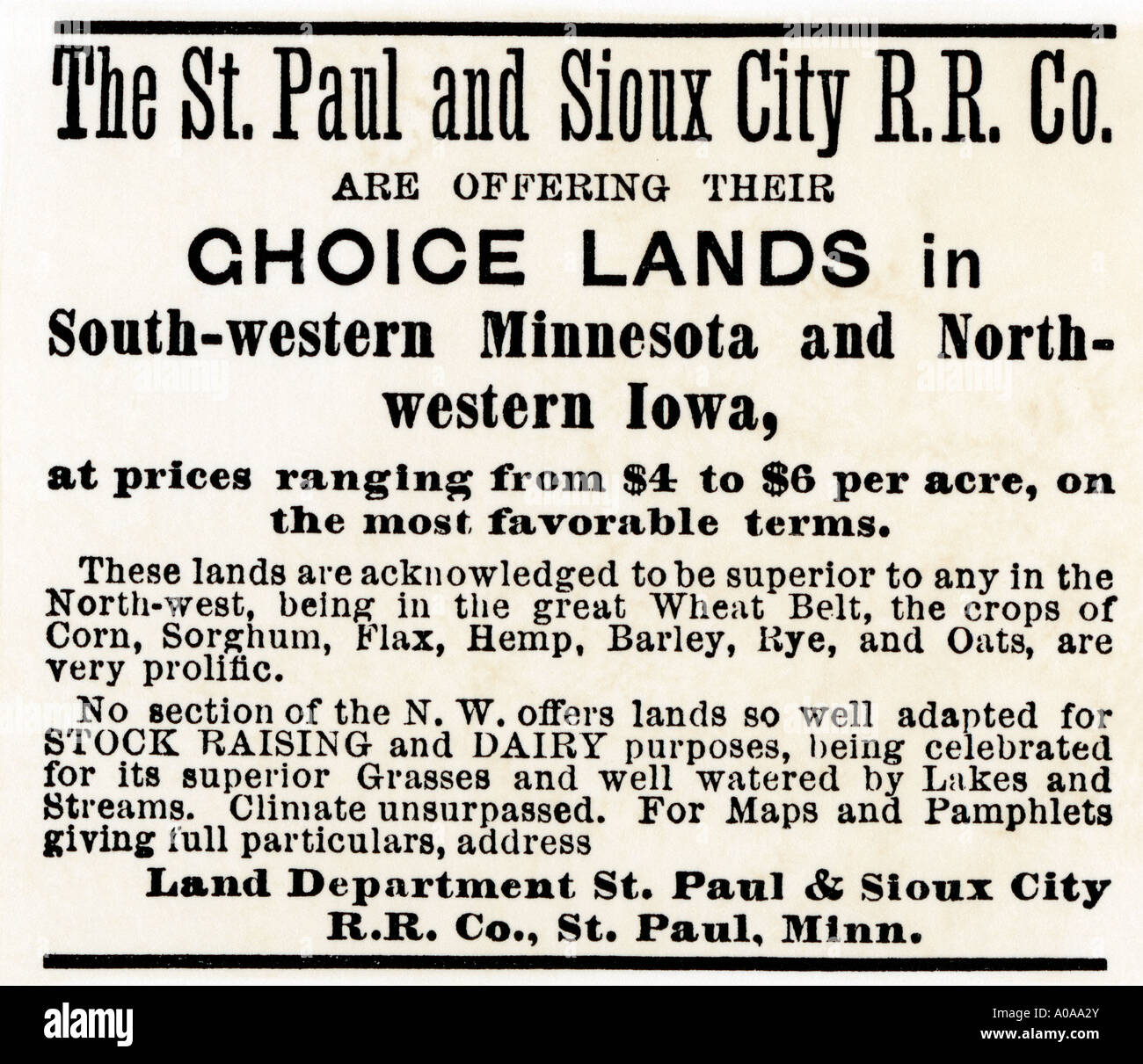 Land in Minnesota and Iowa advertised by the St Paul Sioux City Railroad Company 1870s. Woodcut with a watercolor wash - Stock Image