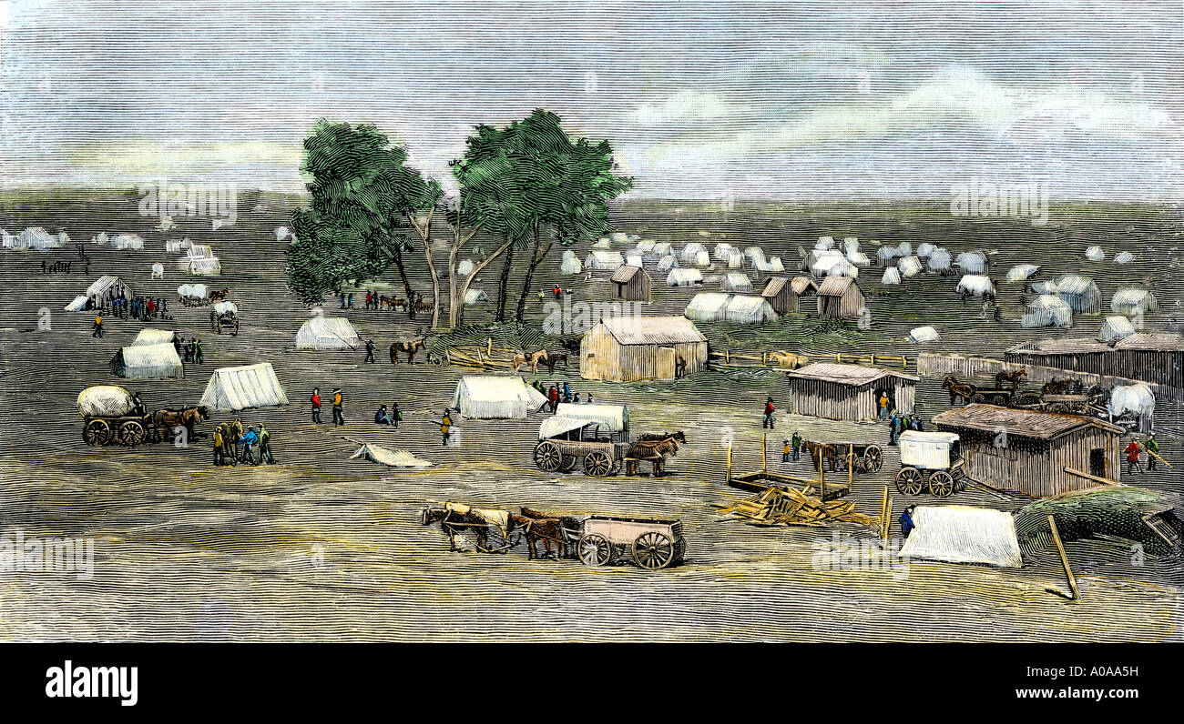 Founding of Oklahoma City during the land rush of 1889. Hand-colored woodcut - Stock Image