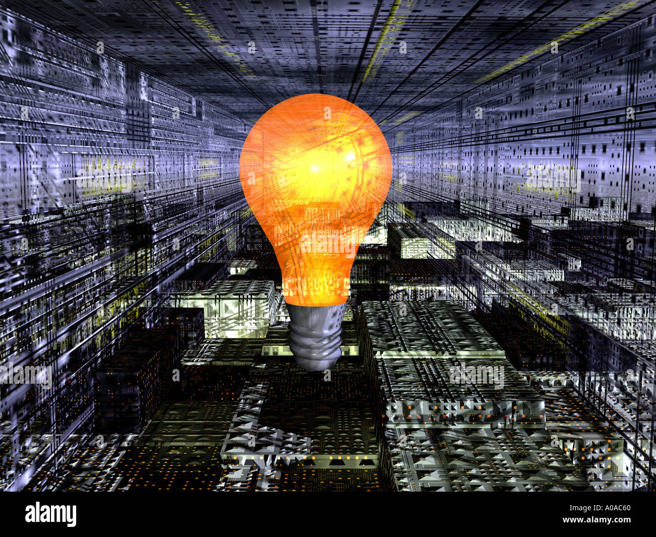 light bulb in industrial sci fi setting - Stock Image