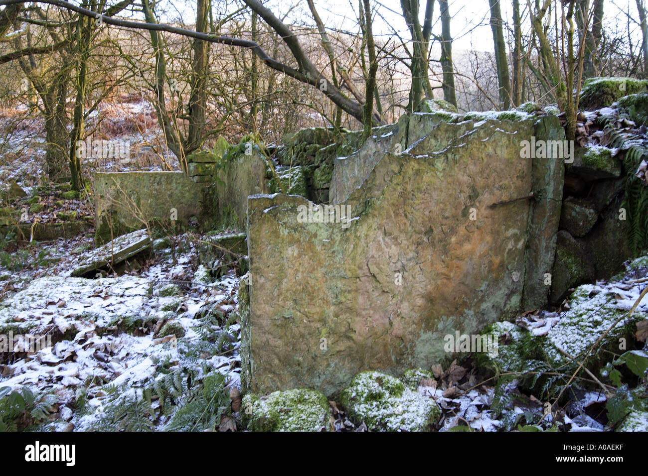 The remains of stone becks for scouring fluids for bleaching cotton at Washwheel Mill in the Cheesden Valley Heywood UK - Stock Image