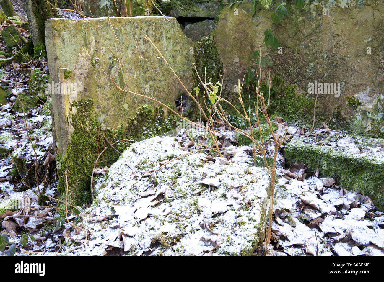The remains of stone becks for scouring fluids for bleaching cotton at Washwheel Mill in the Cheesden Valley Heywood Stock Photo
