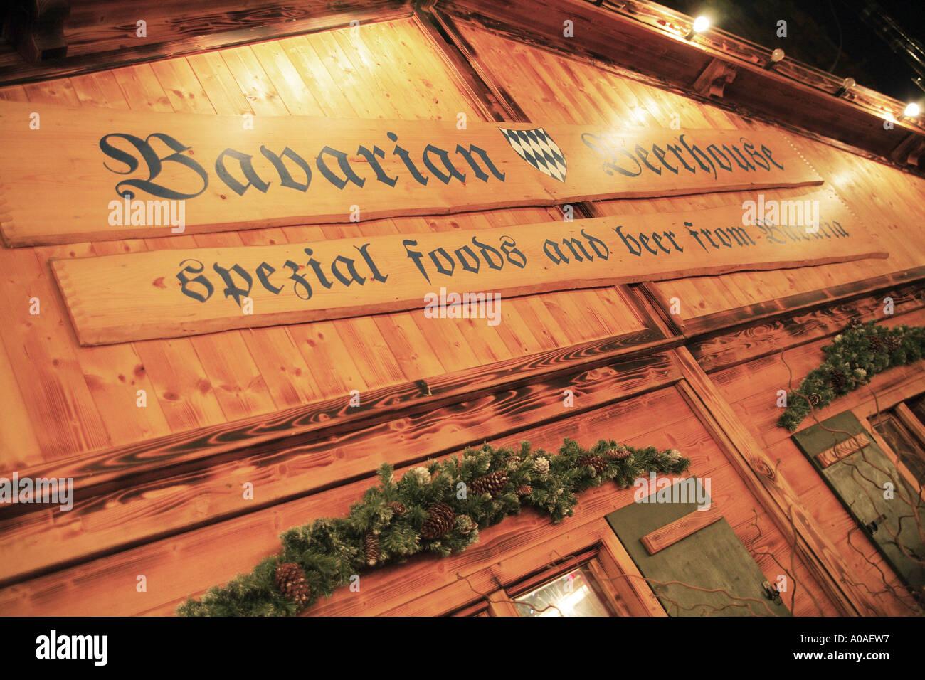 Bavarian Beerhouse at Albert Square Manchesters Christmas Markets UK Stock Photo