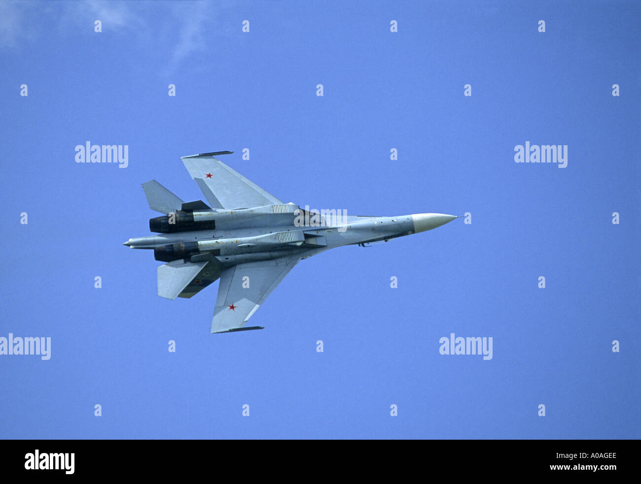 Russian Airforce SU27 Flanker twin-engine supermanoeuverable fighter aircraft.   GAV 2096-86 - Stock Image