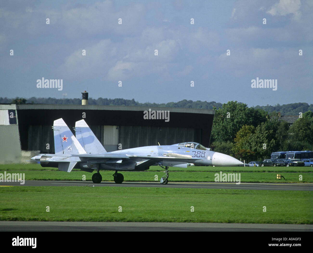Russian Airforce SU27 Flanker twin-engine supermanoeuverable fighter aircraft.   GAV 2098-86 - Stock Image