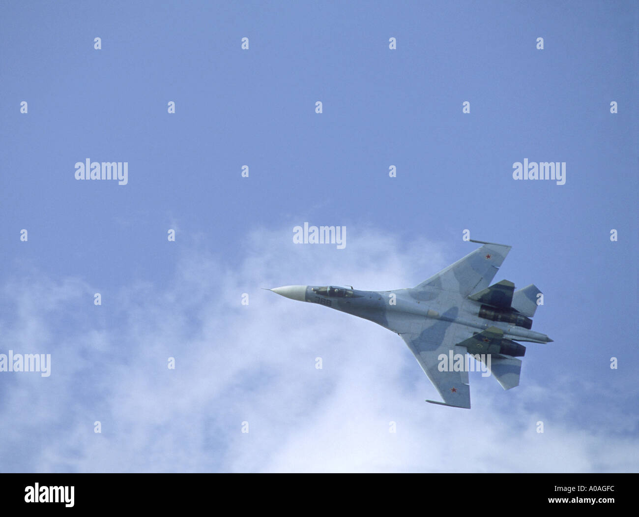 Russian Airforce SU27 Flanker twin-engine supermanoeuverable fighter aircraft.  GAV 2100-86 - Stock Image