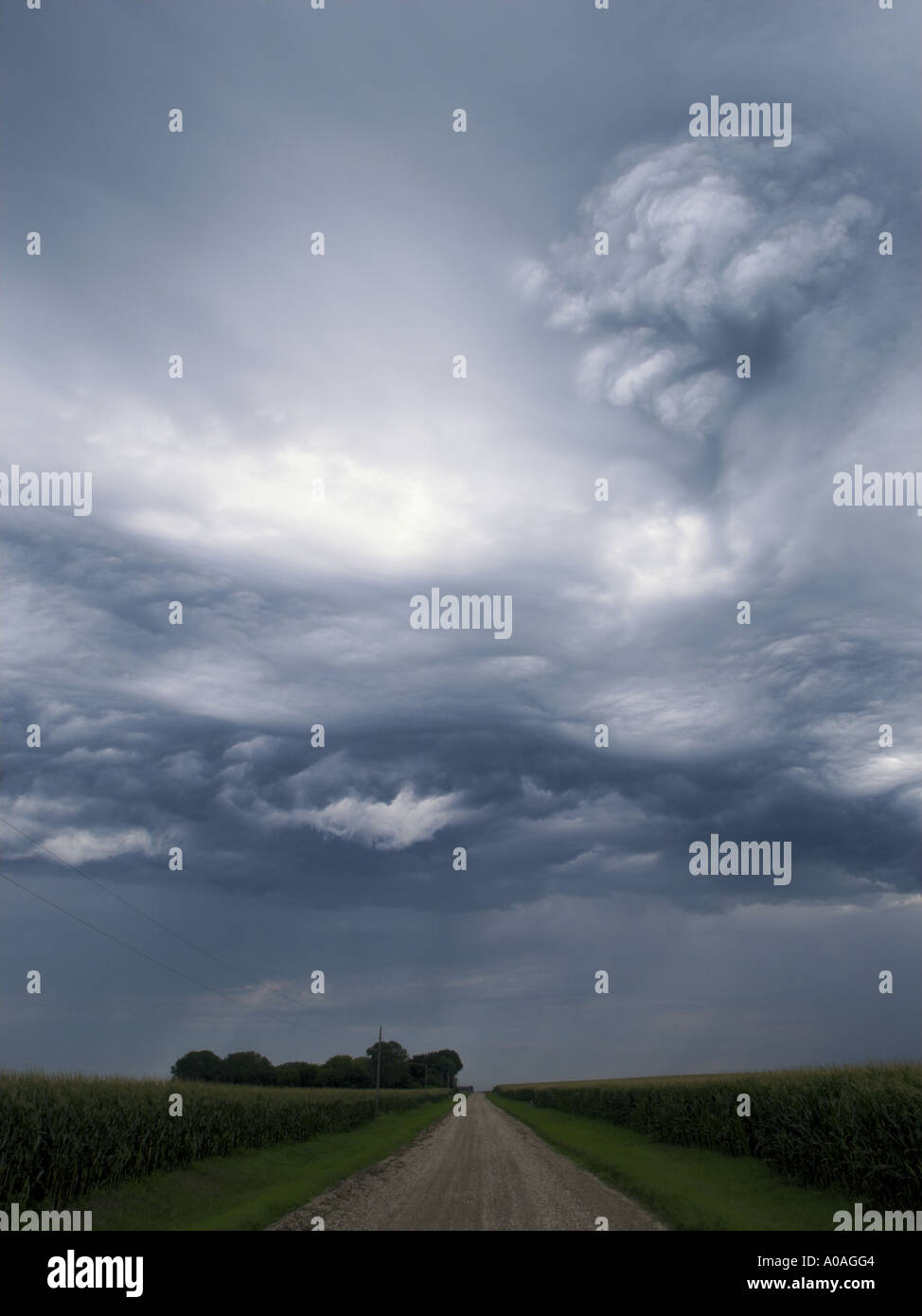 Unusual Stratocumulus Storm Cloud Over Country Road Farm Field Iowa Stock Photo Alamy