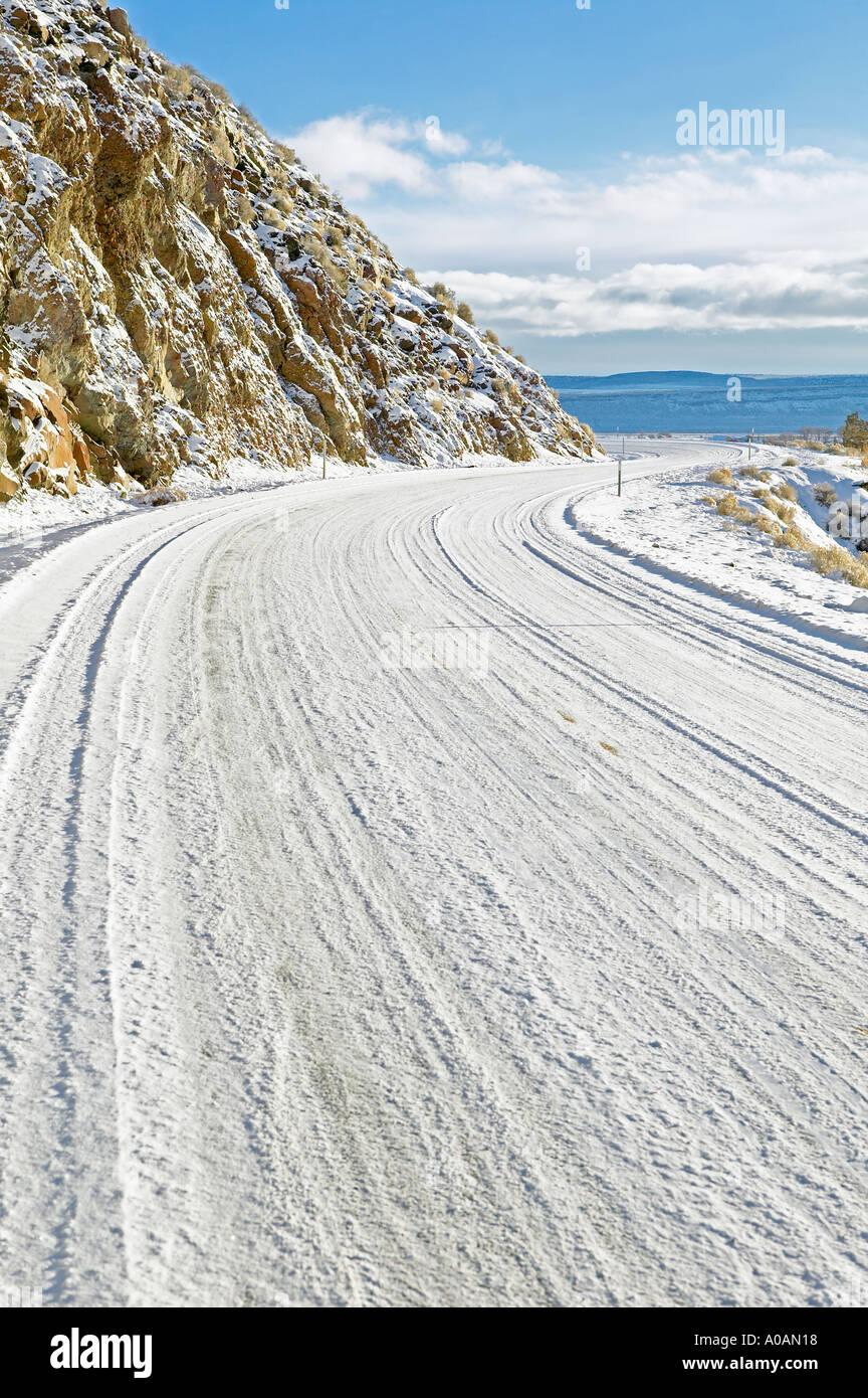 Road oafter snowfall Near Adel Oregon - Stock Image