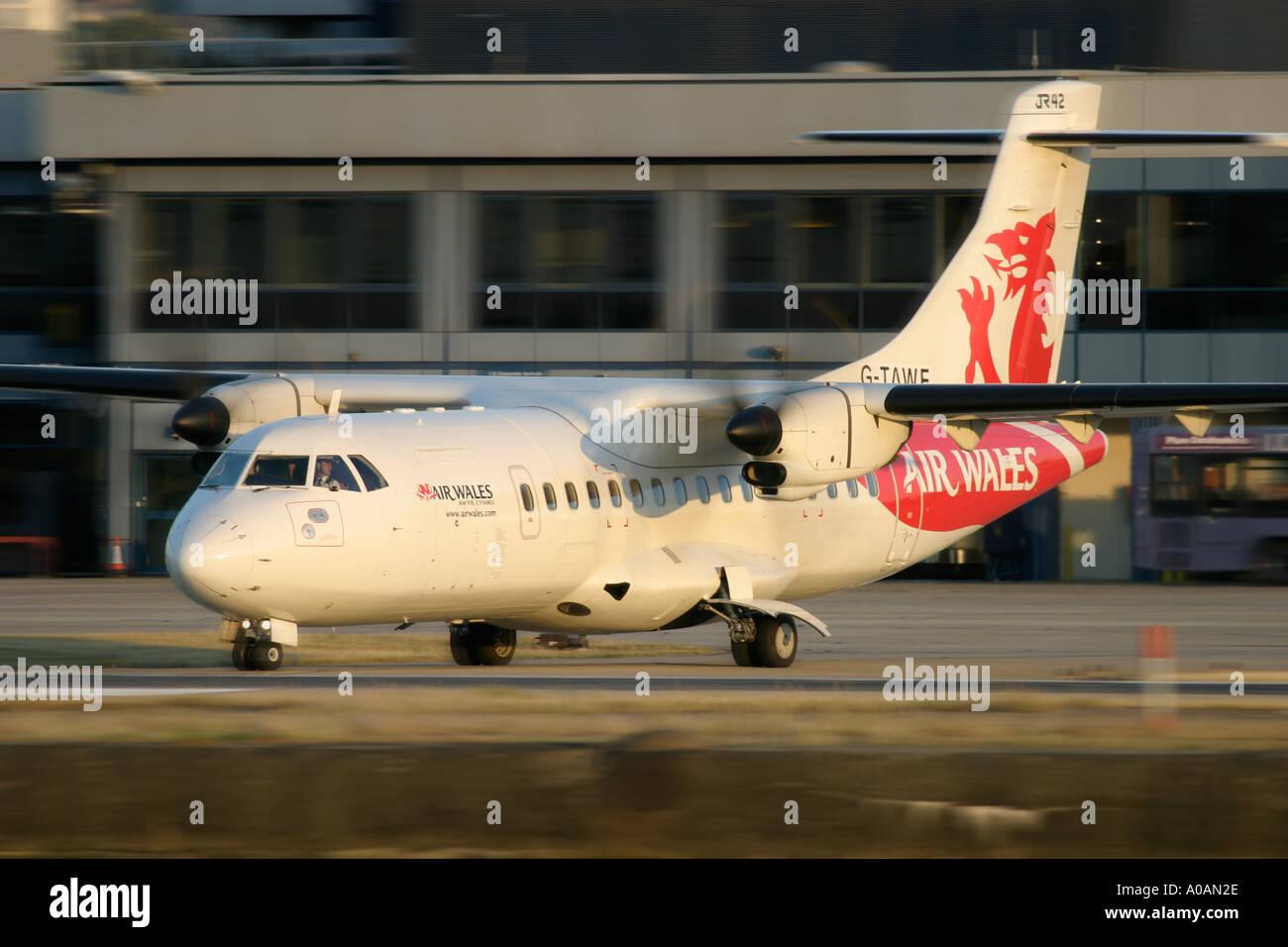 ATR 42 300 Air Wales at London City Airport - Stock Image