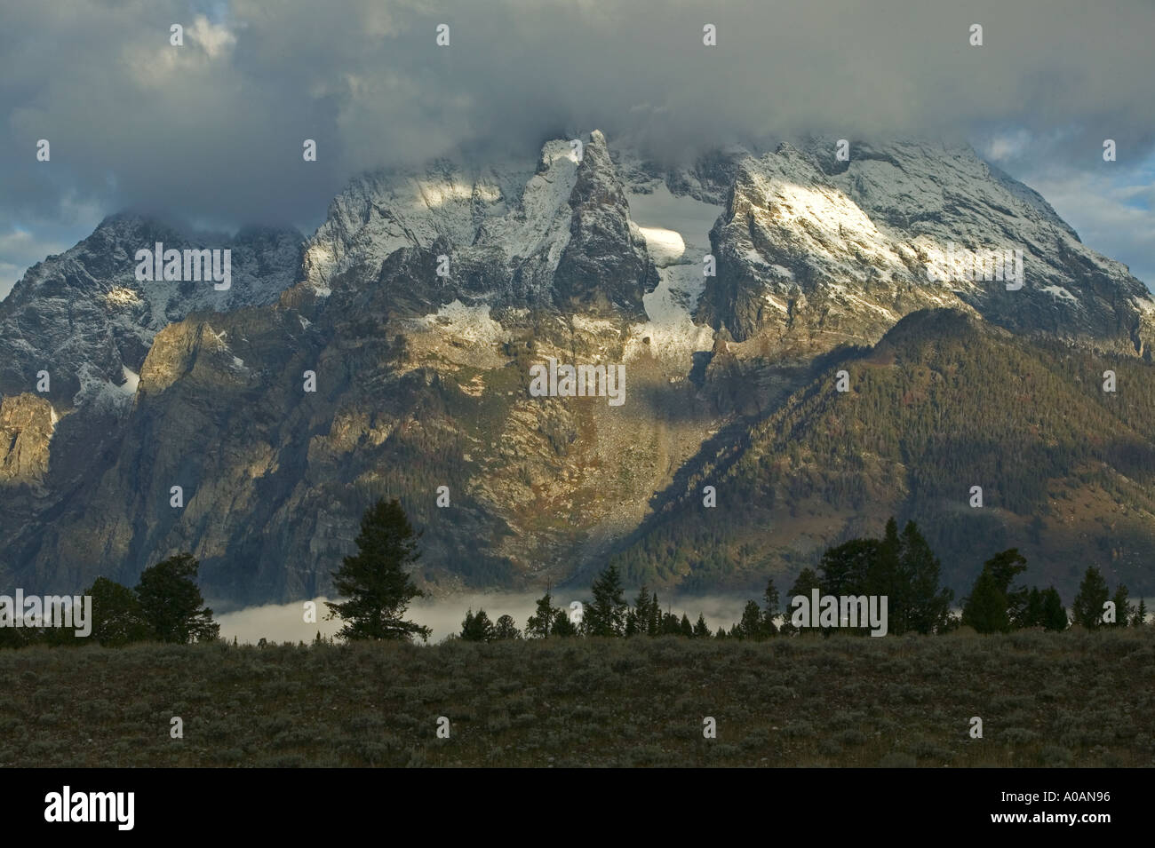 Close up of one the peaks in Grand Teton National Park Wyoming - Stock Image