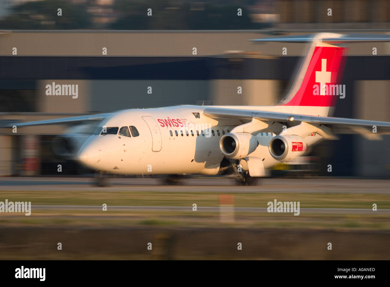 Swiss International Air Lines British Aerospace Avro RJ 100 146 RJ100 at London City UK Stock Photo