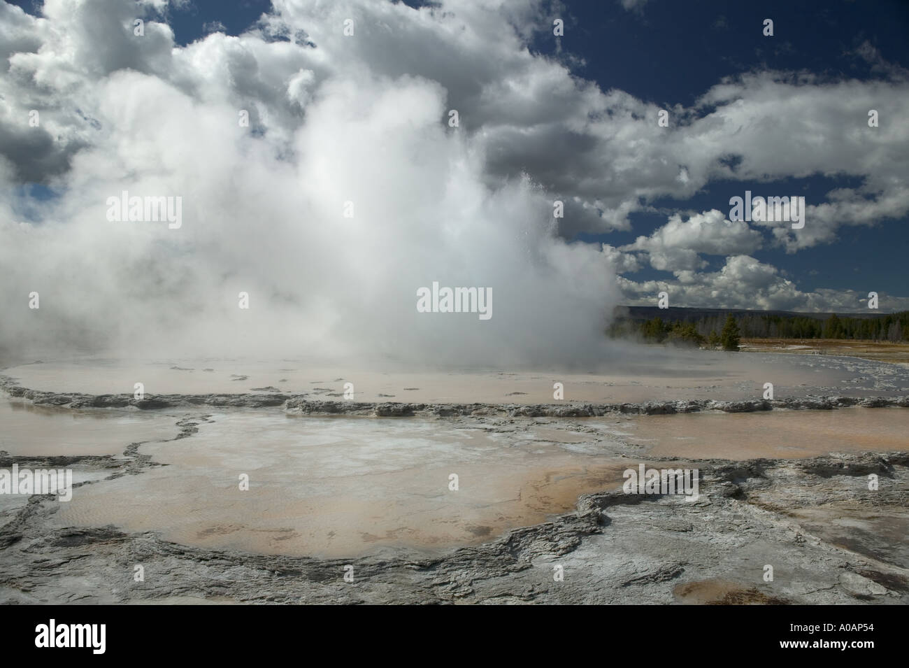 Great Fountain Geyser Yellowstone National Park Wyoming - Stock Image