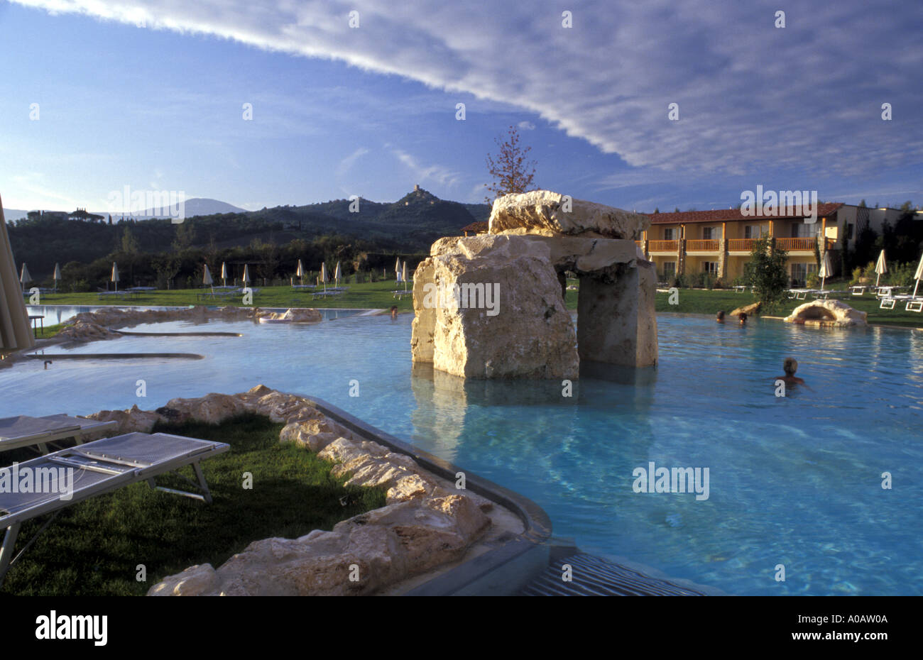 Outdoor thermal pool Adler Thermae Bagno Vignoni Tuscany Italy Stock ...