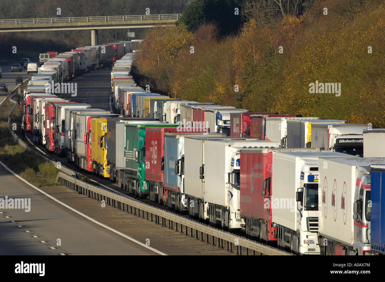 Operation Stack on the M20 motorway near Ashford Kent when an industrial dispute in France closed the port of Calais - Stock Image