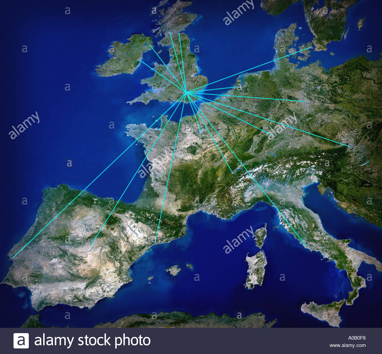 Destinations in Europe - Stock Image