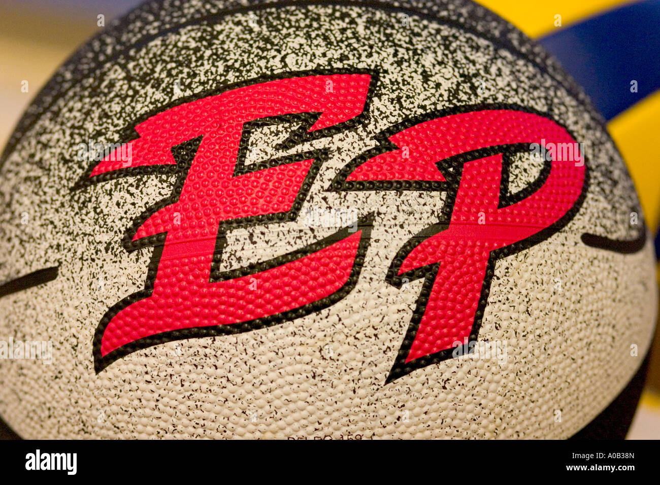 Artistic colorful EP symbol on gym ball could be for Eden Prairie School. St Paul Minnesota MN USA - Stock Image