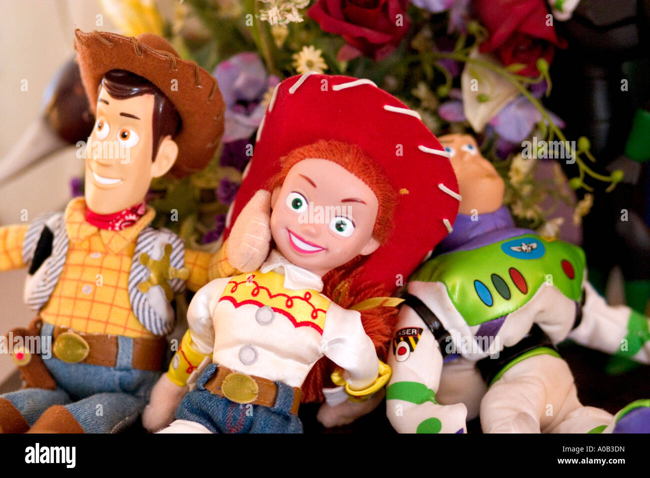 Toy Story dolls Woody Jessie and Buzz Lightyear ready to play. St Paul Minnesota MN USA - Stock Image