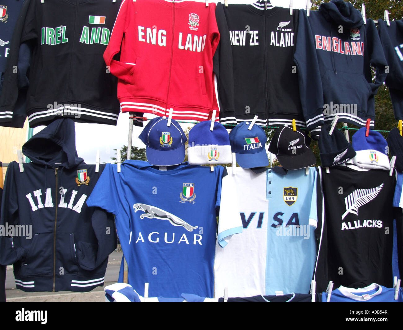 top fashion 92714 35fb0 replica rugby shirts for sale outside ground Stock Photo ...