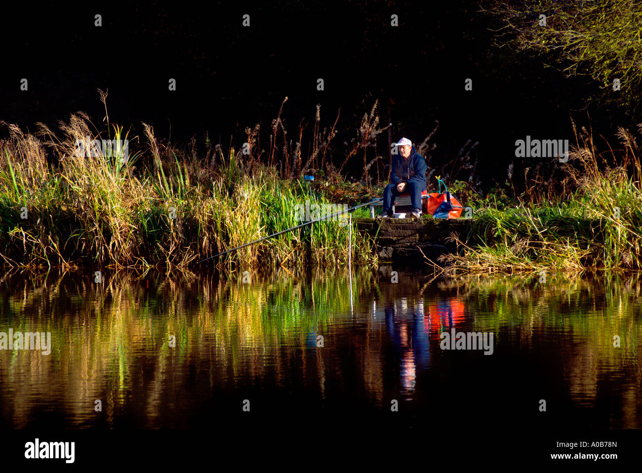 Fisherman fishing with a 'roach pole'at  Abbeydale Industrial Hamlet Mill pool in Sheffield 'Great Britain' - Stock Image