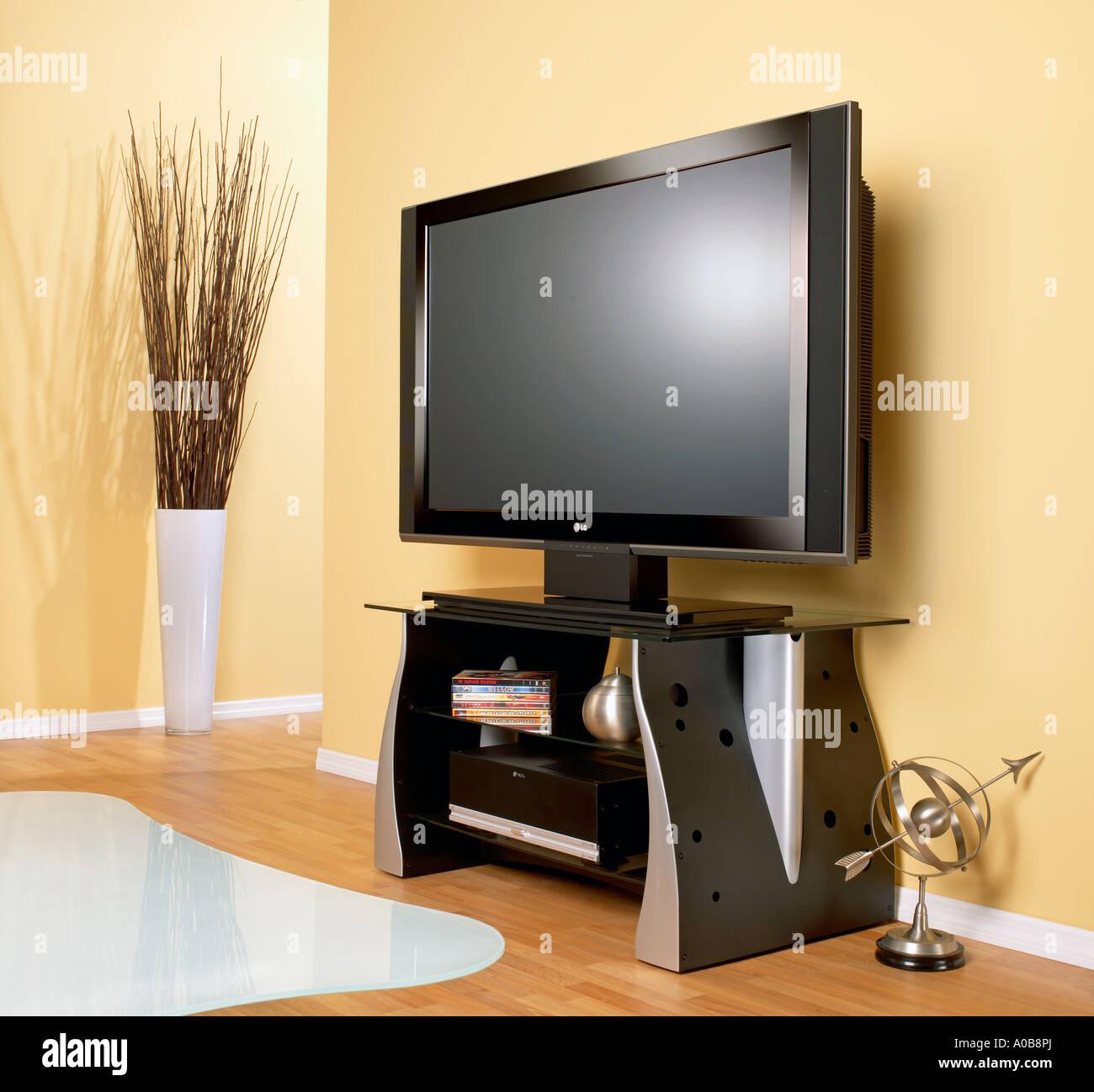 Plasma TV television flat screen monitor in room horizontal - Stock Image