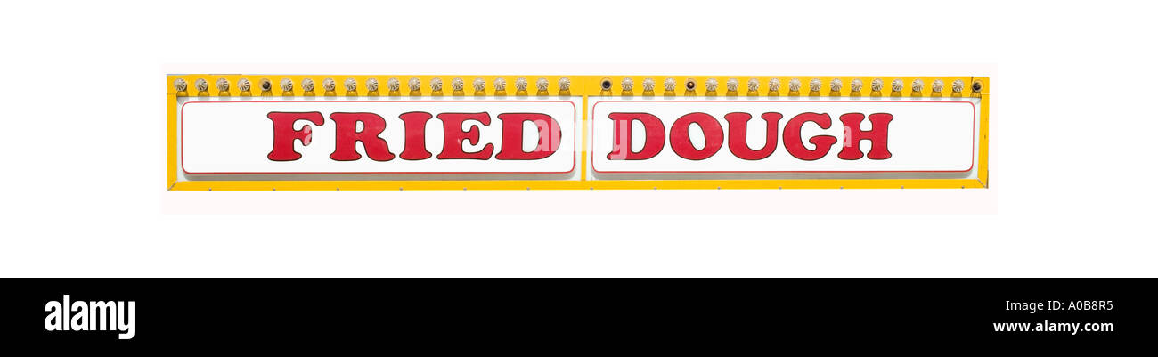 Fried Dough sign silhouetted on white background - Stock Image