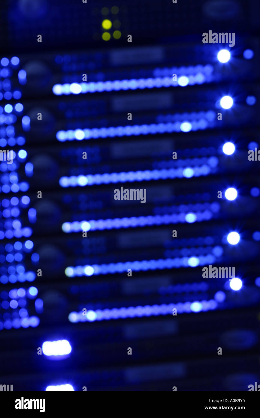 Computer network system IT server rack blurred - Stock Image