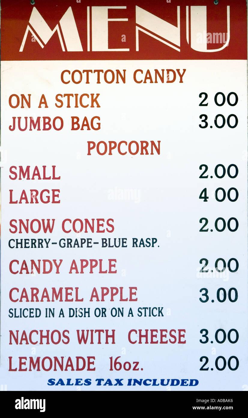 menu of junk food at a carnival stock photo 5680821 alamy