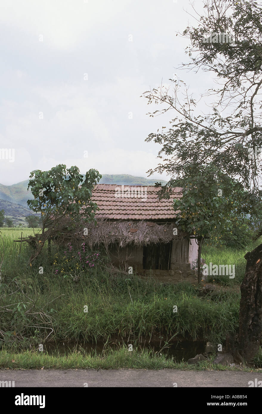 A farmer's hut in a rural agricultural area. Pune Maharasthra, India. Stock Photo