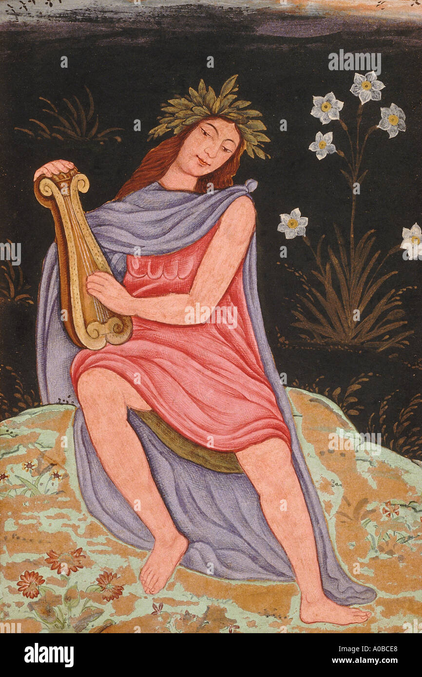 Apollo playing lyre Dated 1600 A D - Stock Image