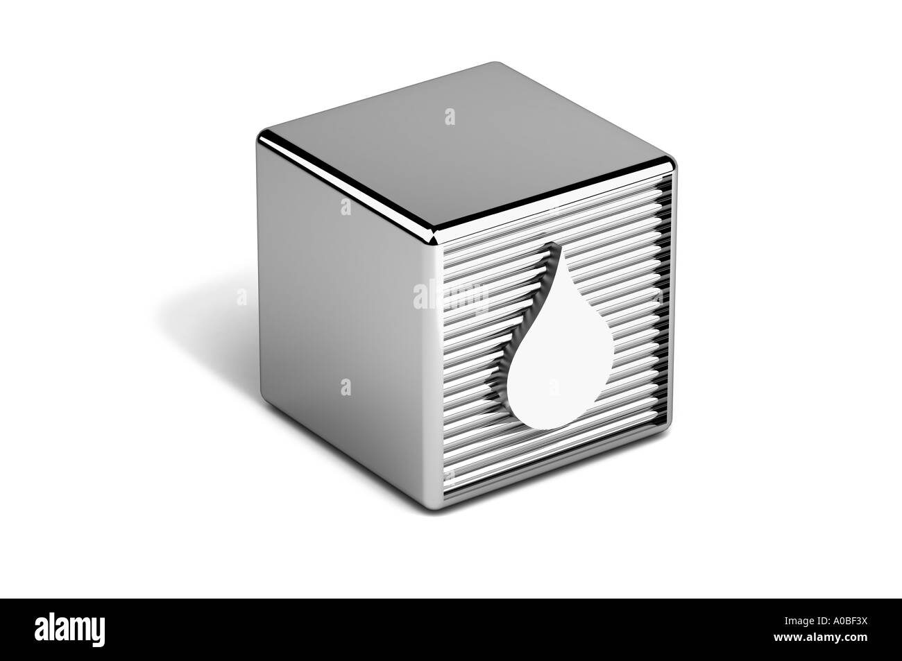 Water droplet icon on toy block - Stock Image