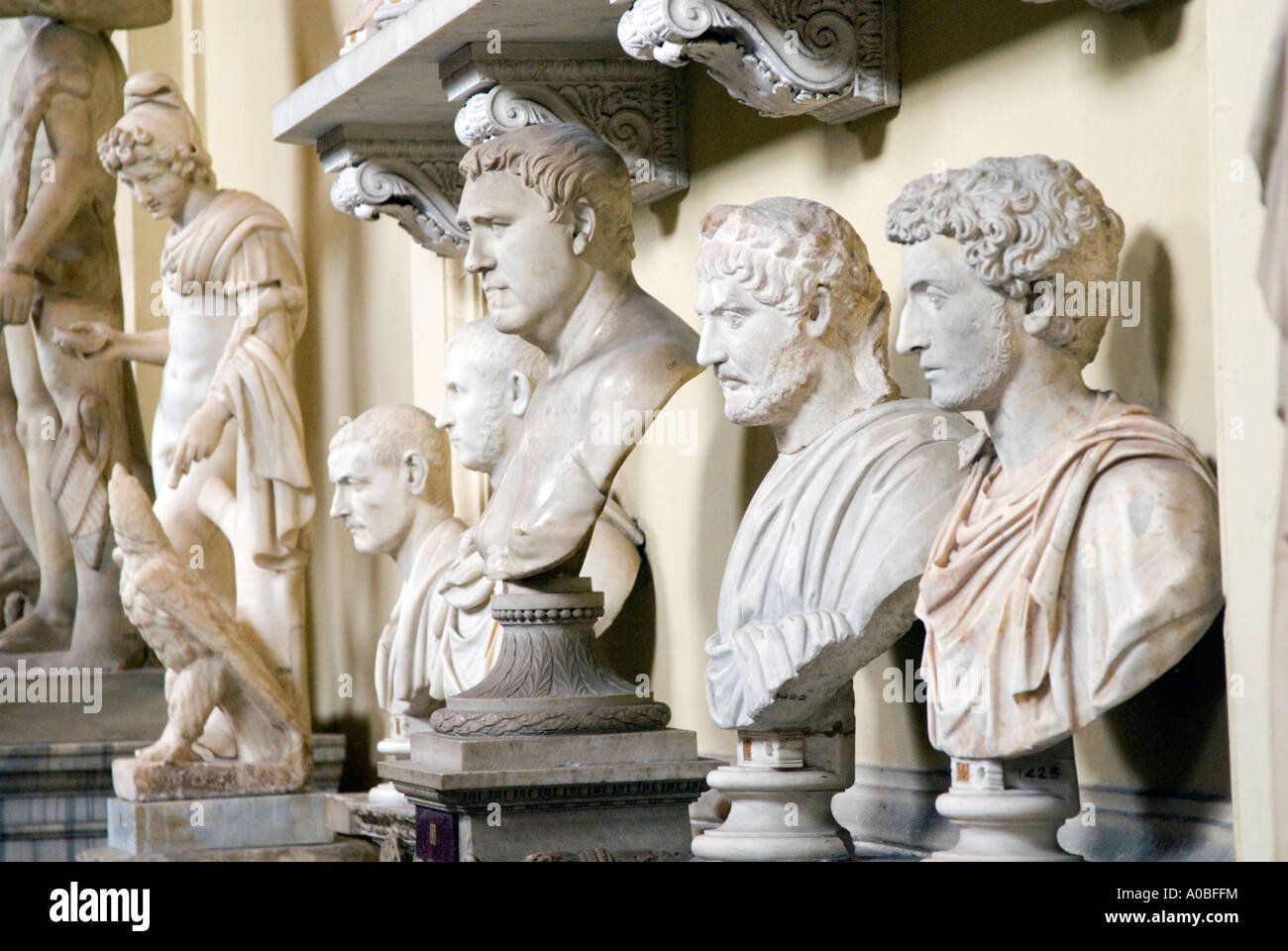Busts of distinguished ancient Romans in the Vatican Museum Rome Italy - Stock Image