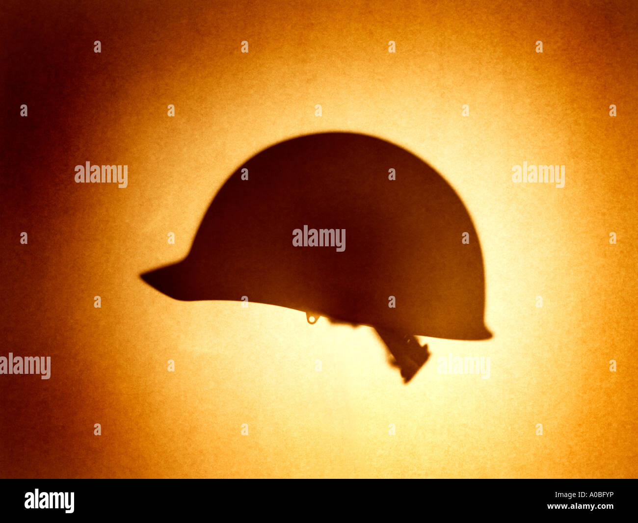Hat Army Helmet K-Pot personal armor head cover safety military hardhat  men women man woman silhouette shadow Stock Photo