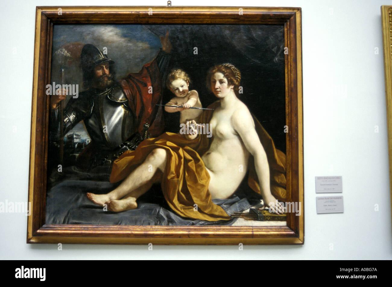 Venere Marte Amore Guercino work of art Estense gallery Modena Emilia Romagna Italy - Stock Image