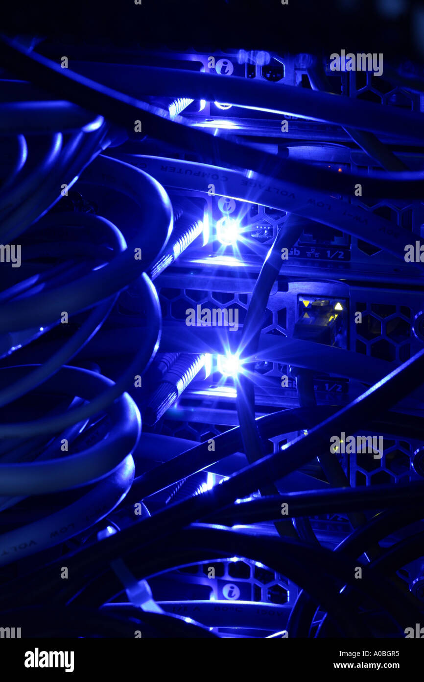 Data server computer network system wiring - Stock Image