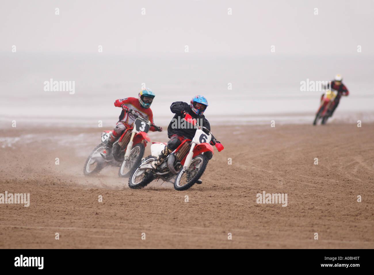 Motorbike Sand Racing On A Beach In England Stock Photo Alamy