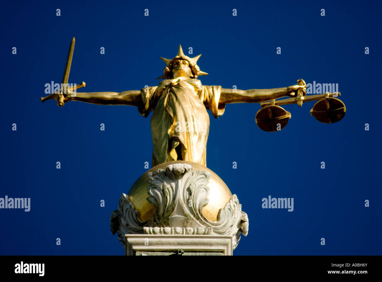 Statue of Lady Justice atop the Old Bailey London England UK - Stock Image