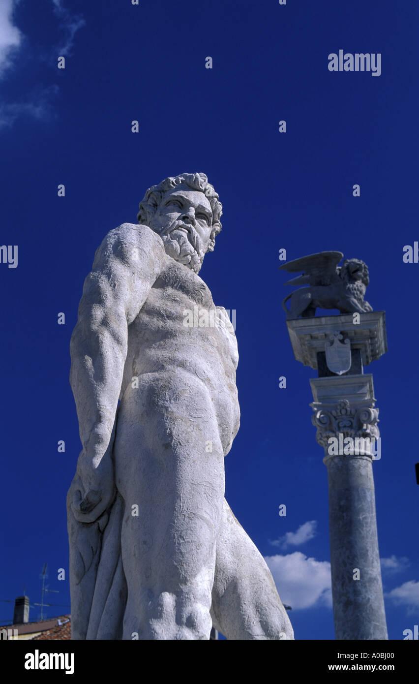 Ercole statue Libertà square Udine Friuli Venezia Giulia Italy - Stock Image