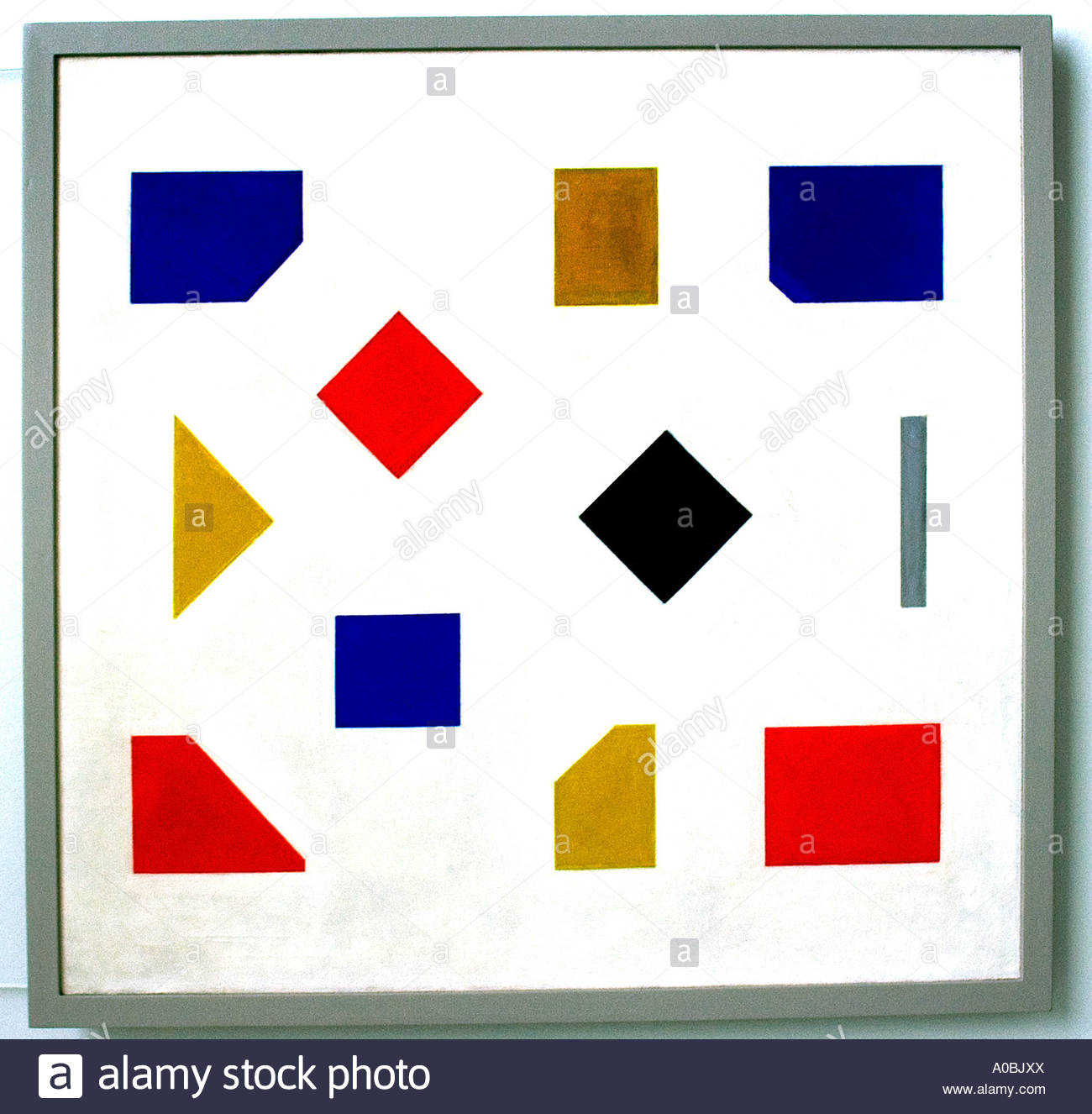 Composition with grey stripe by Bart van der Leck Dutch Painter The Netherlands - Stock Image