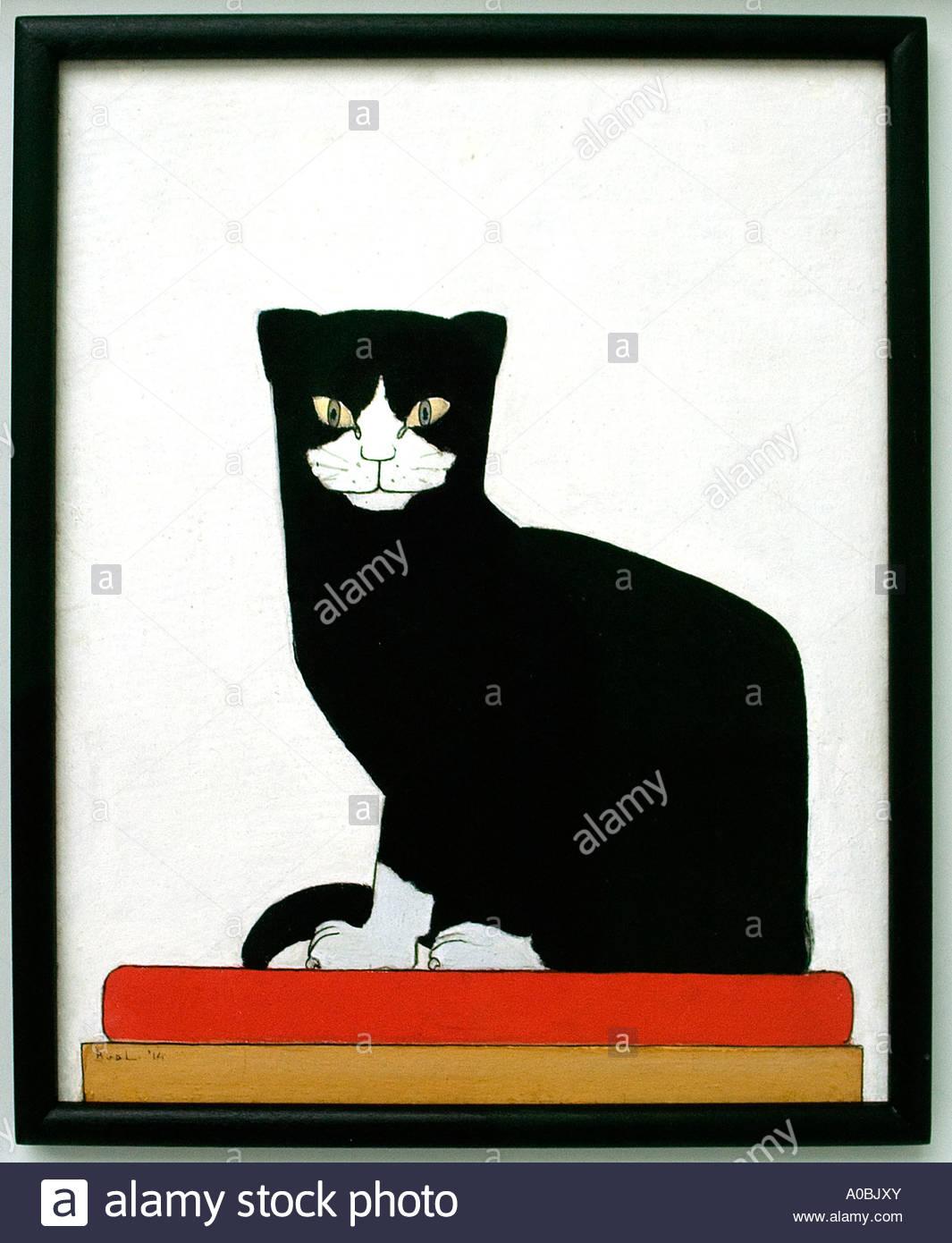 Cat by Bart van der Leck Dutch Painter The Netherlands - Stock Image