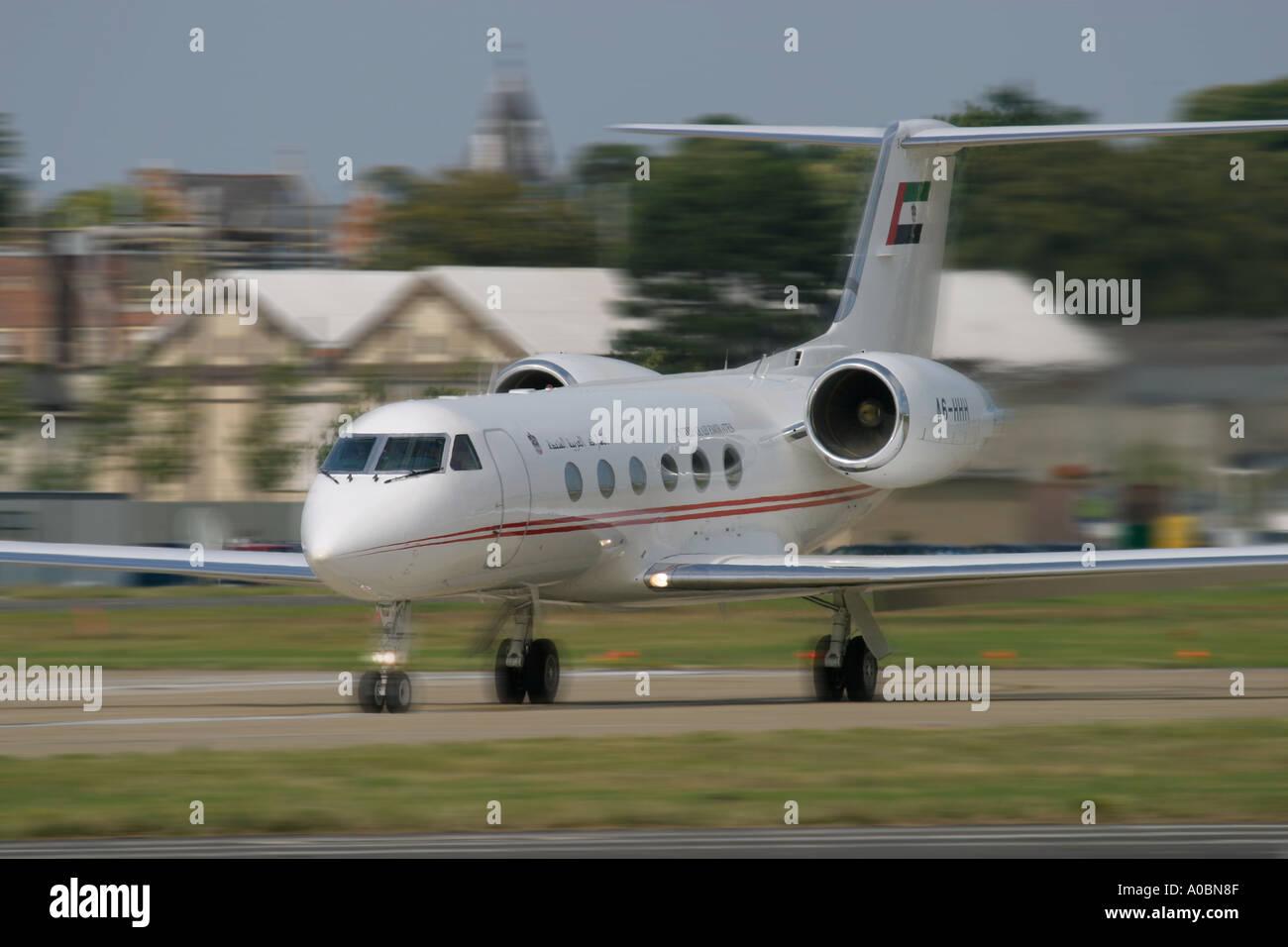 United Arab Emirates Gulfstream Aerospace G IV Gulfstream IV at Farnborough airfield UK - Stock Image