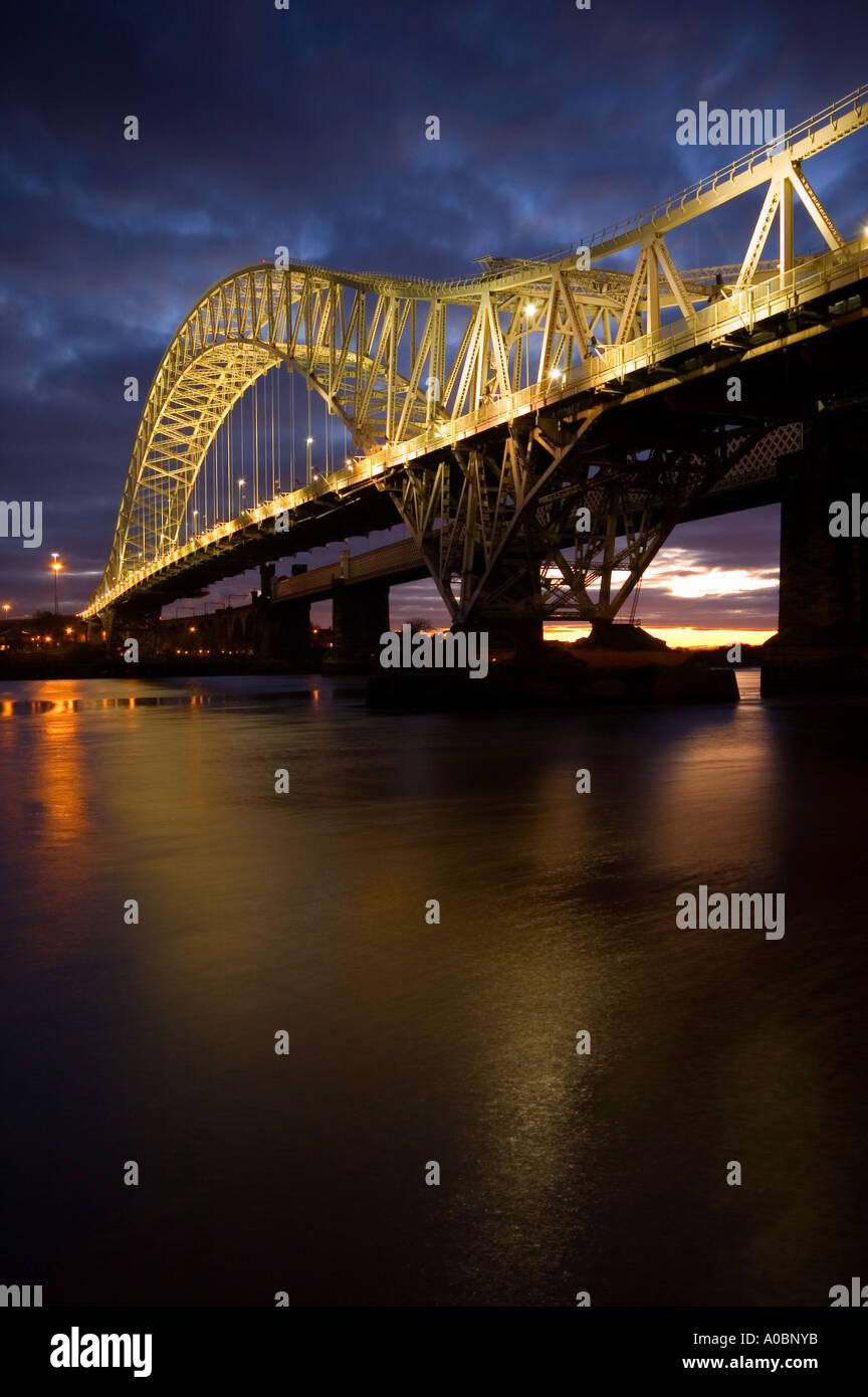 Evening Light on The Runcorn Road Bridge Runcorn Cheshire UK - Stock Image