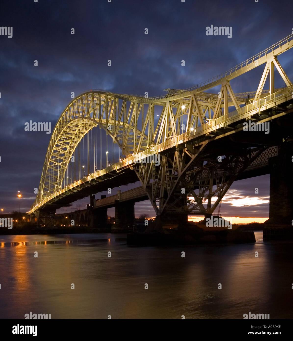 The Runcorn Road Bridge at Sunset Runcorn Cheshire UK - Stock Image