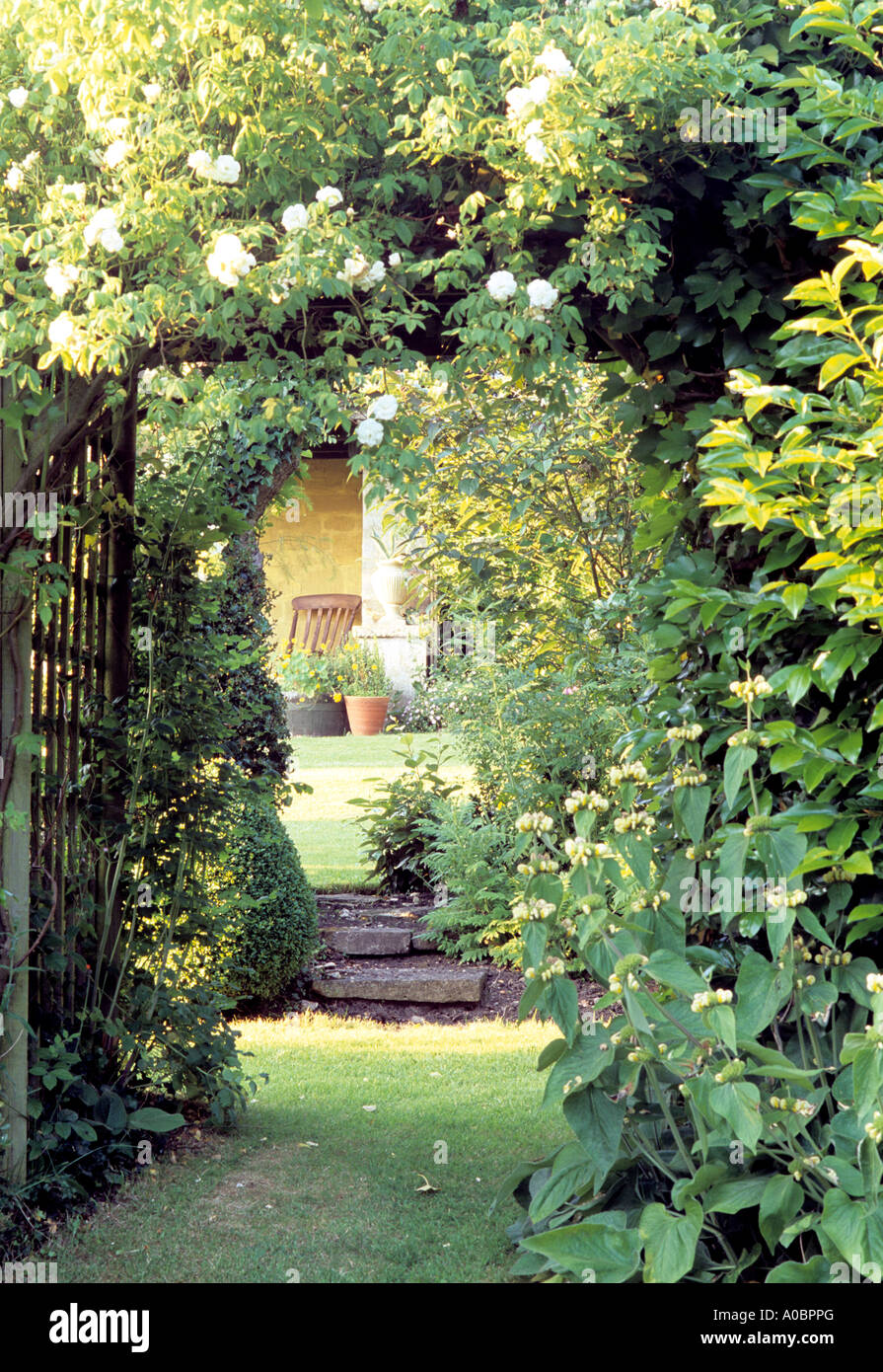 Trellis Arbor With Climbing Roses In English Country Garden