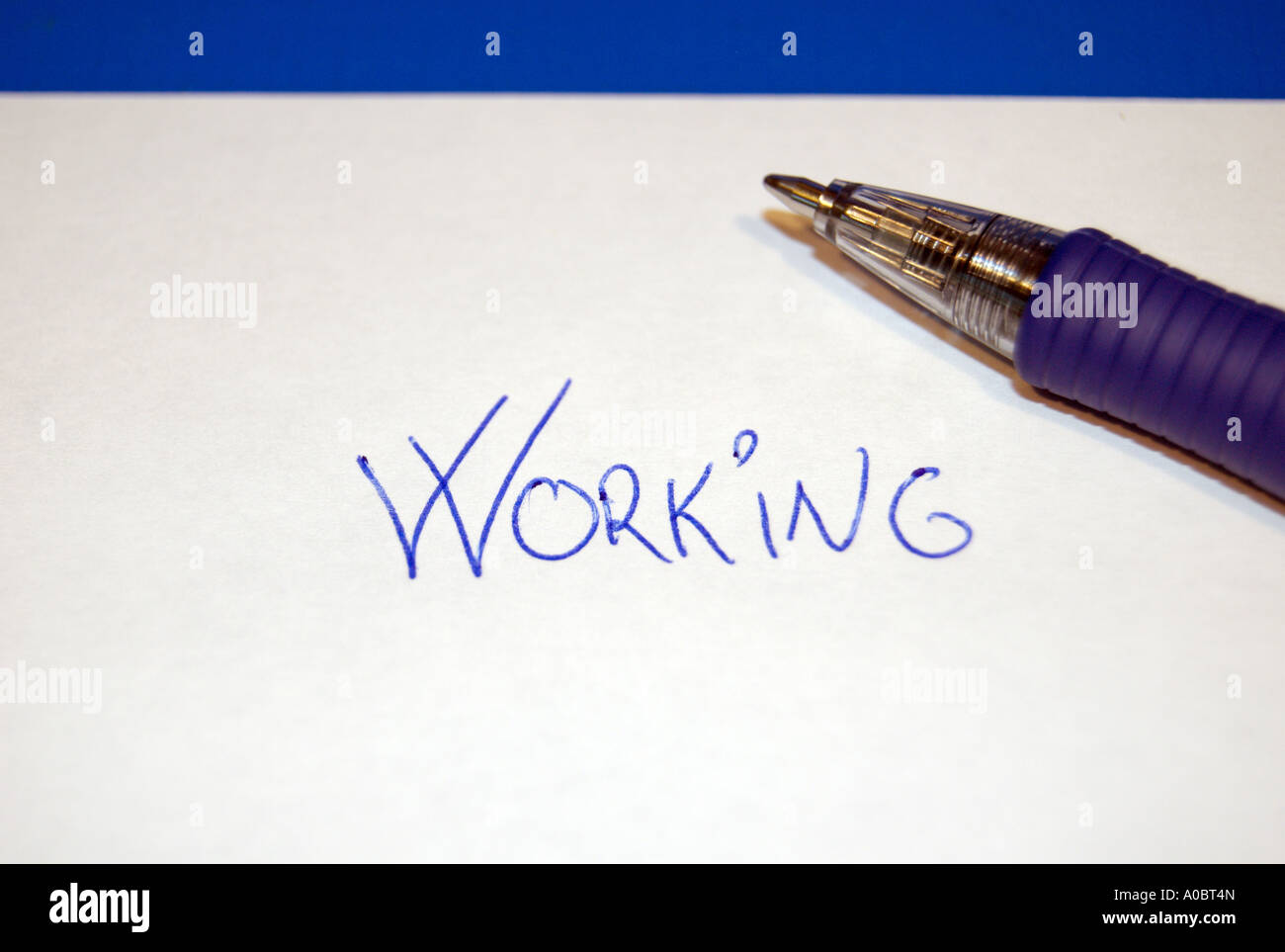 Concept of working formed by letters and a pen Captured in Oslo Norway October 2006 Stock Photo