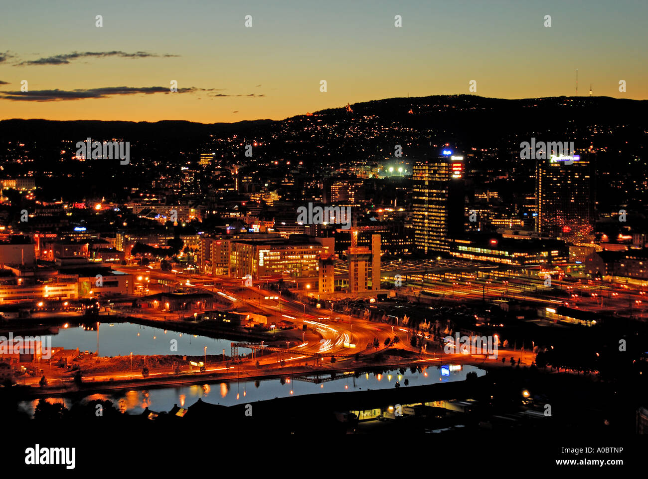 Oslo the capitol of Norway captured on a september evening from a height south of the city Stock Photo
