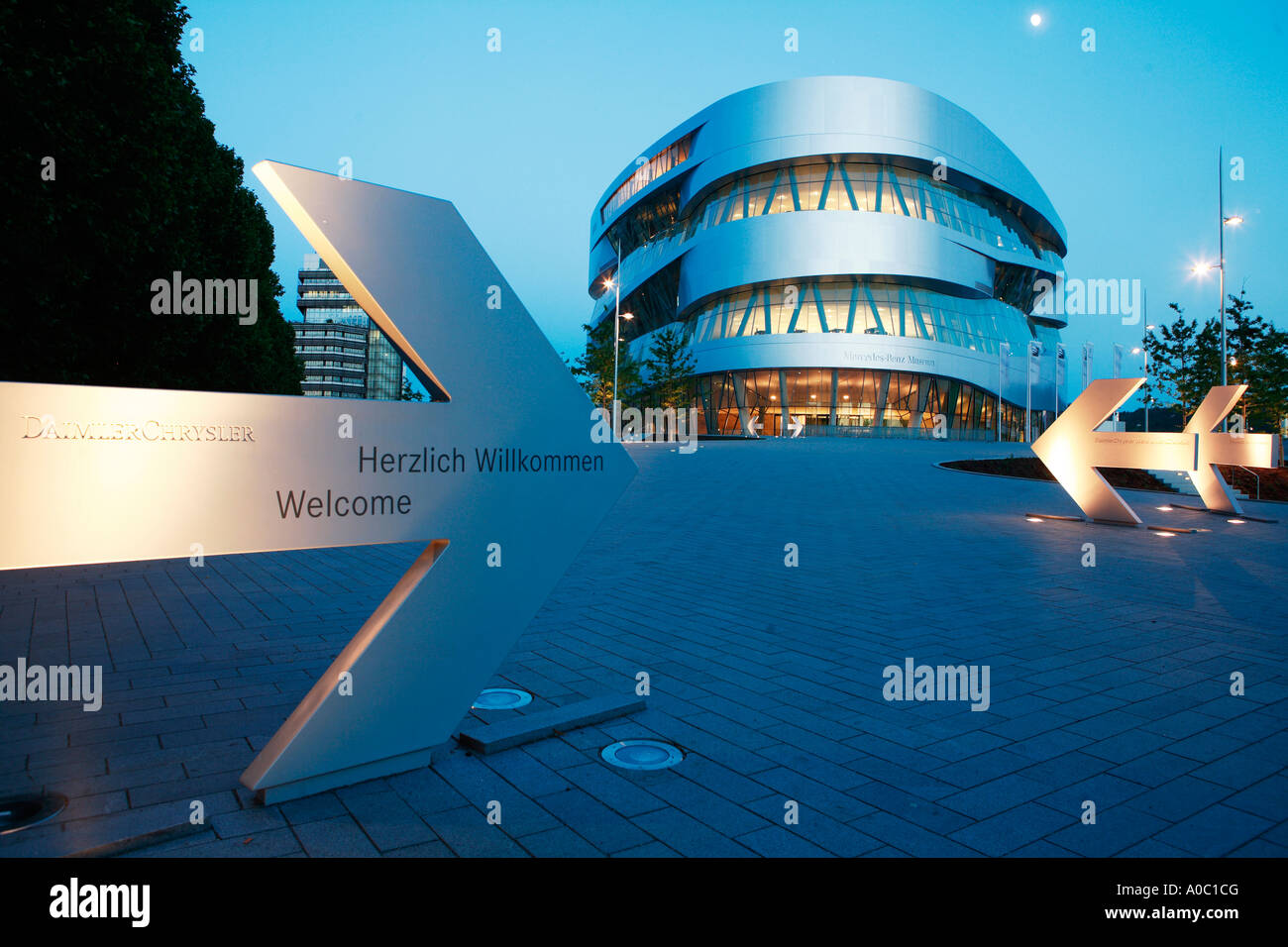 mercedes benz museum, mercedes-benz world in stuttgart at night