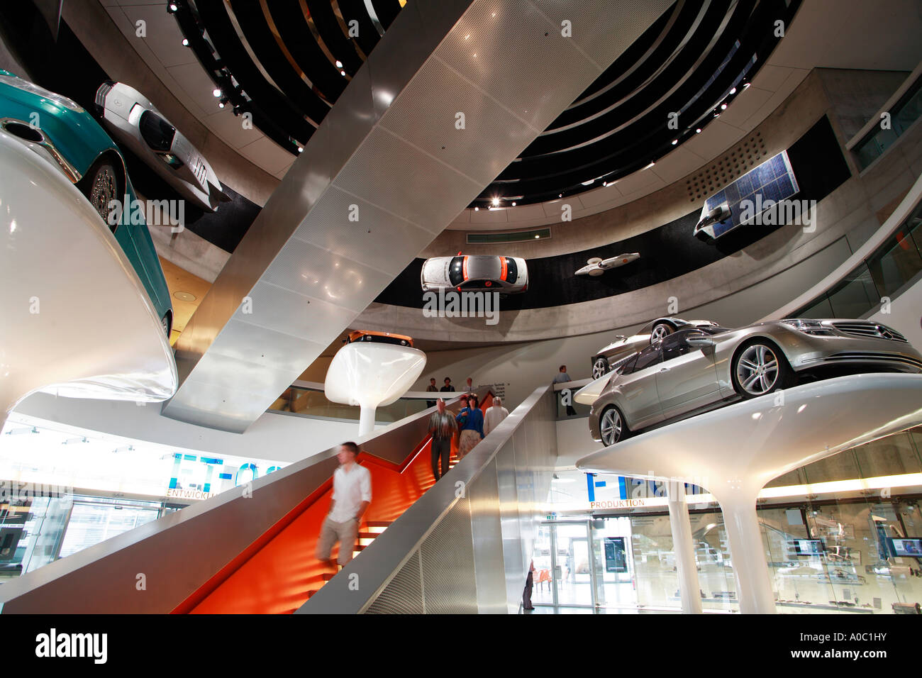 mercedes benz museum, mercedes-benz world in stuttgart, baden stock