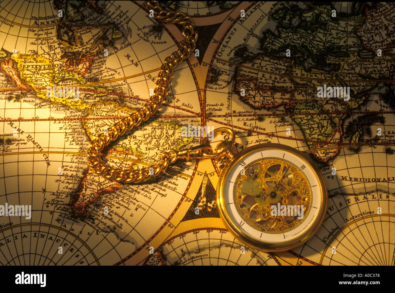 Old world map stock photos old world map stock images alamy pocket watch on old world map stock image gumiabroncs Choice Image