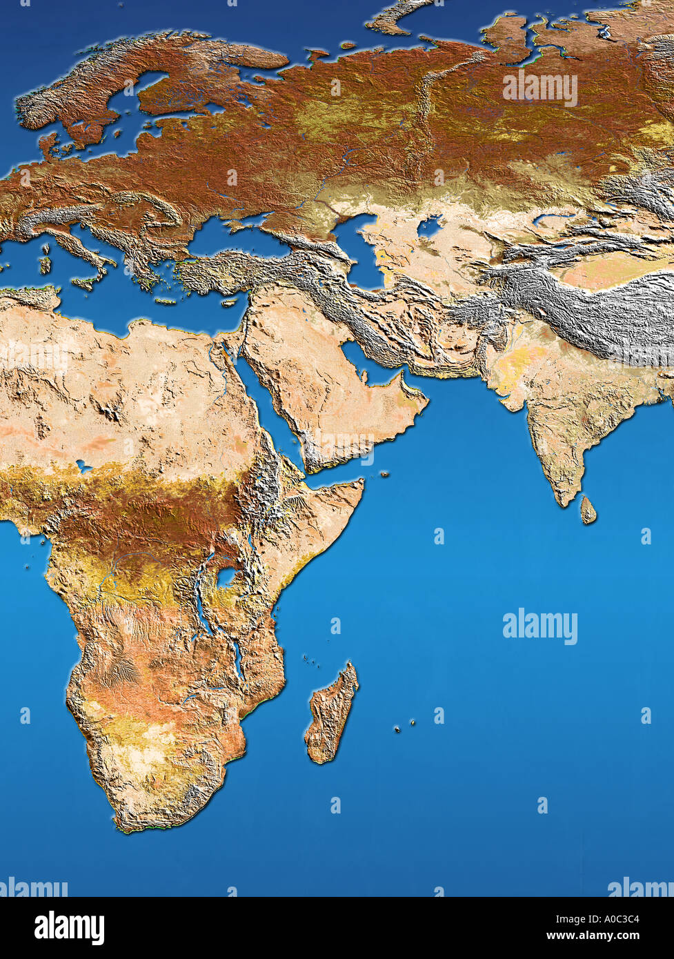 Satellite image map of Africa Arabia Europe Scandinavia India and ...